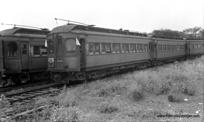"CA&E 34 at the Wheaton Yards in June 1947. Don's Rail Photos: ""34 was built by Stephenson in 1903. It was modernized in February 1940 and retired in 1959."" (Walter Hulseweder Photo)"