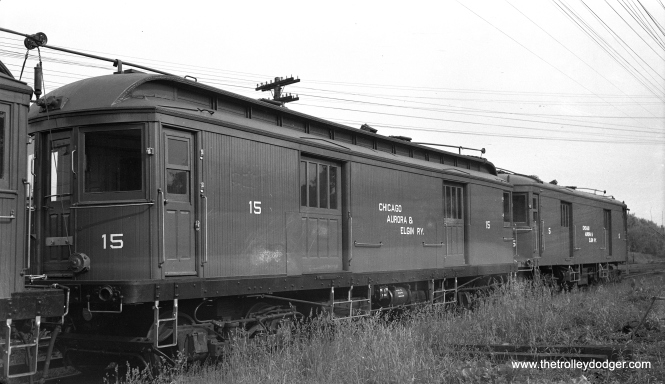 "Express car 15 at Wheaton on June 18, 1947. Don's Rail Photos says, ""15 was built by McGuire-Cummings in 1910. It was scrapped in 1953."""