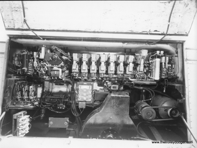 This photo is supposed to show the traction motor in CTA trolley bus 370. If so, it was built by St. Louis Car Company in 1948. This bus would have been renumbered to 9370 in 1952, to avoid duplication with bus numbers from the Chicago Motor Coach Company, which CTA purchased that year. A while back I asked our readers whether the North Shore Line Electroliner was fitted with trolley bus motors. I don't think I got a definitive answer, although in some sense, a traction motor is a traction motor.