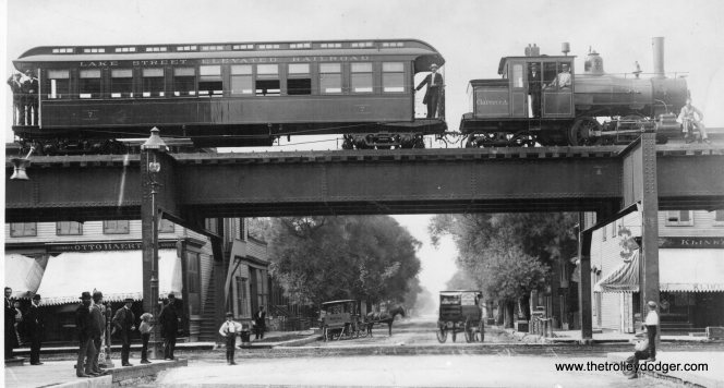 The Lake Street Elevated Railroad in the 1890s, when it was steam-powered.