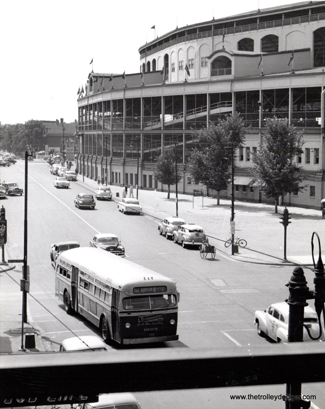 "CMC Mack bus 1005, eastbound on Addison near Wrigley Field. Andre Kristopans: ""Cmc Mack was built in 1951."""