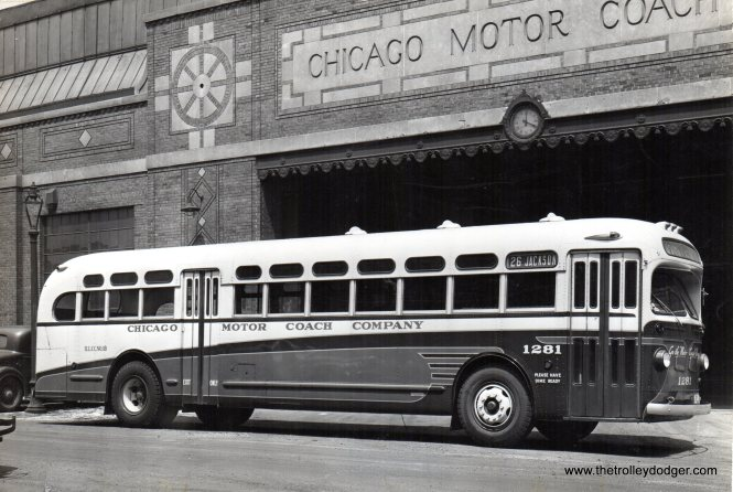 Chicago Motor Coach bus 1281, newly painted, at Wilcox garage on May 11, 1946. The CMC assets were purchased by the Chicago Transit Authority on October 1, 1952. Route 26 - Jackson became CTA route 126.