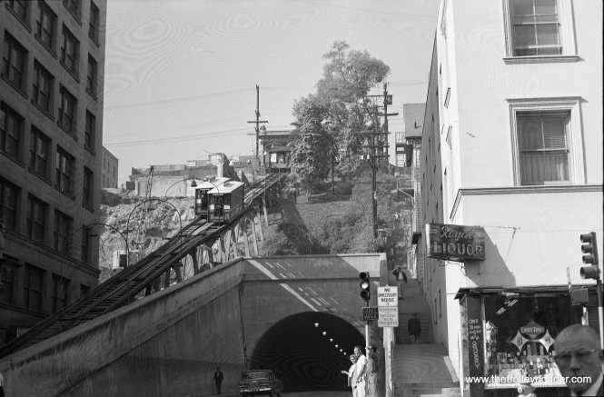 A view of Angel's Flight in 1964, showing the building at left demolished.