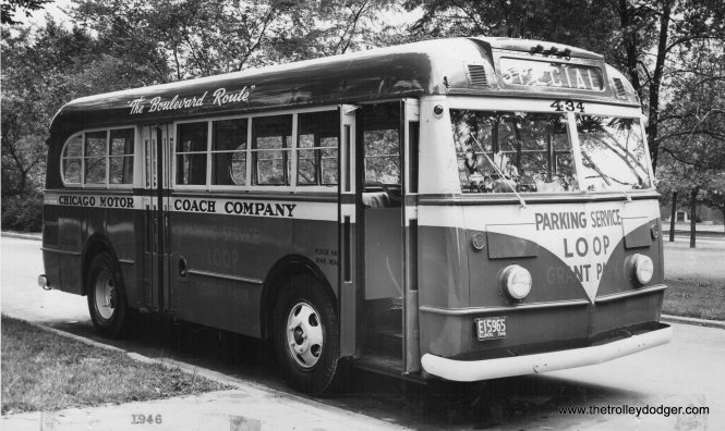 Chicago Motor Coach Ford bus 434, circa 1946.
