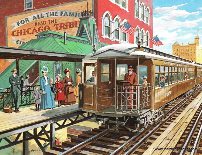 1898 - General Electric and the forerunner to the Chicago Transit Authority make history with the world's first electric multiple-unit cars. That must be inventor Frank Julian Sprague at the front of the car.