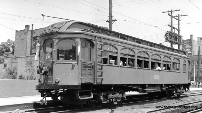 "Don's Rail Photos says, ""300 thru 302 were built by Jewett in 1909 as mainline coaches. As the steel cars arrived, they were downgraded to local and school tripper service. In 1936 they became sleet cutters. In 1939 300 was turned over to the Central Electric Railfans Association as a private car. The ownership remained with the CNS&M, but the maintenance was taken over by CERA. During the war, with many members in service, CERA relinquished control, and the car was scrapped in 1947. 301 and 302 were retired in 1939 and scrapped in 1940."""