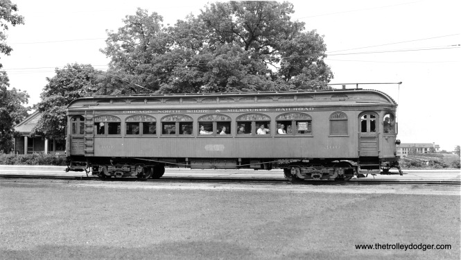 North Shore Line wood car 300, during its time as the Central Electric Railfans' Association club car, probably circa 1939-40.