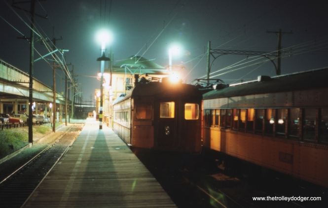 A South Shore Line train at the old Gary station in August 1970.