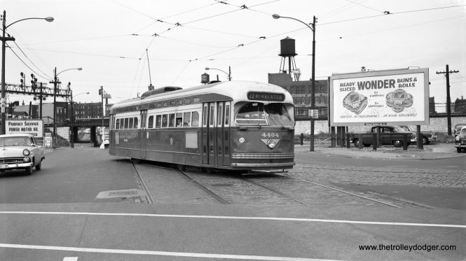 CTA postwar PCC 4404 is heading south, turning from Archer onto Wentworth on June 20, 1958, the last full day of streetcar service in Chicago. This was the last photo of a Chicago streetcar taken by the late Bob Selle.
