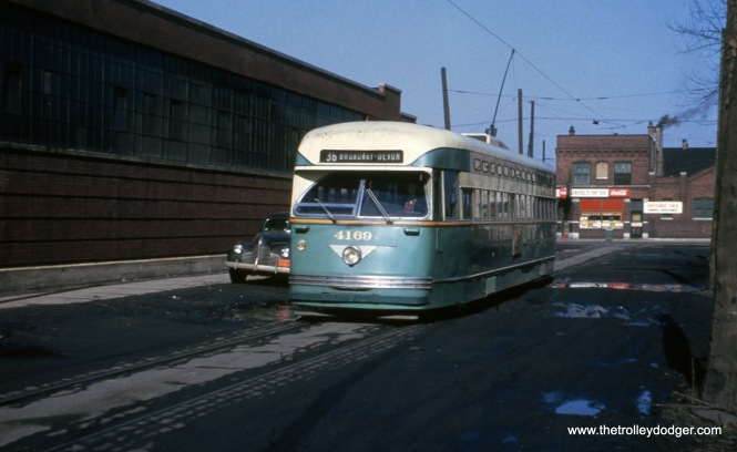 CTA Pullman PCC 4169 at the south end of Route 36 - Broadway-State, near 119th and Morgan, probably in the early 1950s. (Eugene Van Dusen Photo)