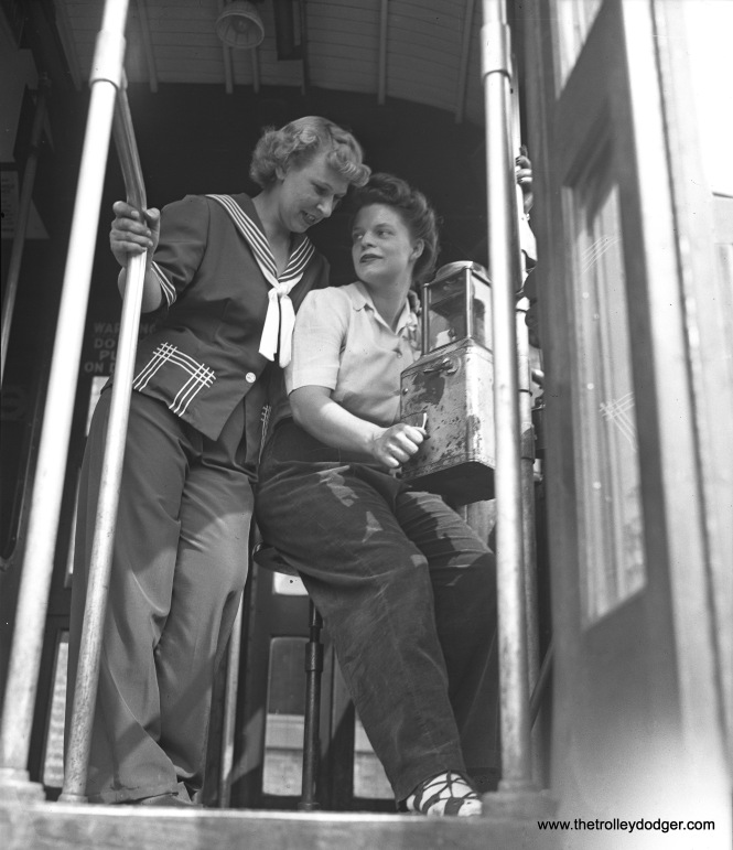 Faced with a manpower shortage during World War II, some transit lines hired female operators (although the Chicago Surface Lines did not). Here, we see Mrs. Cleo Rigby (left) and Mrs. Katherine Tuttle training in North Chicago on June 25, 1943. That would be for the North Shore Line's city streetcar operations, which were mainly in Waukegan.