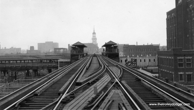"The Stock Yards ""L"" branch, looking east to Exchange, as it appeared on June 7, 1927."