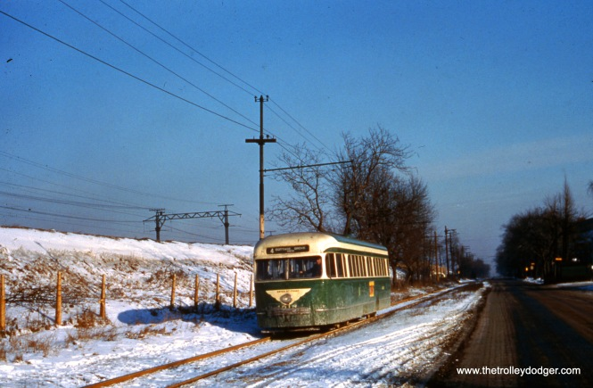 CTA prewar PCC 4018 on Cottage Grove at 13th in February 1955. (William C. Janssen Photo)
