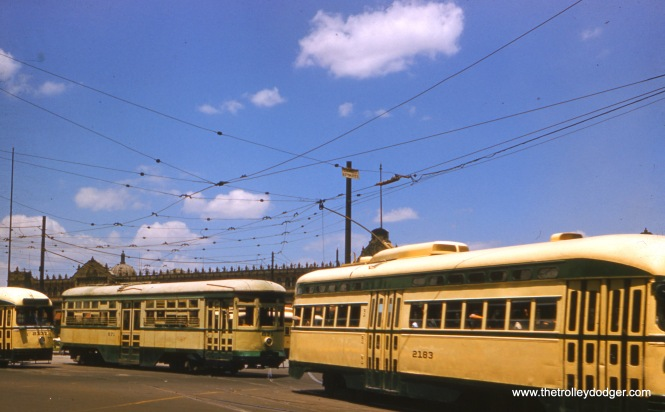This, and the three pictures that follow, were taken in Mexico City in May 1957, apparently by a pretty good photographer. Mexico's last remaining streetcar line (Tasqueña–Xochimilco) was converted to light rail in 1986. The PCCs were purchased second-hand from North American properties, including Detroit.