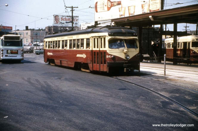 Red Arrow car 24 at the 69th Street Terminal in August 1960.