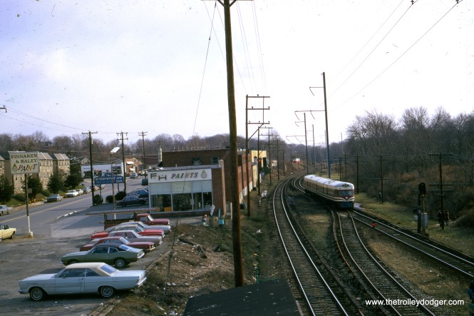 "One of the SEPTA Liberty Liners in February 1972. Kenneth Achtert: ""The Liberty Liner in February 1972 appears to be southbound leaving Wynnewood Road."""