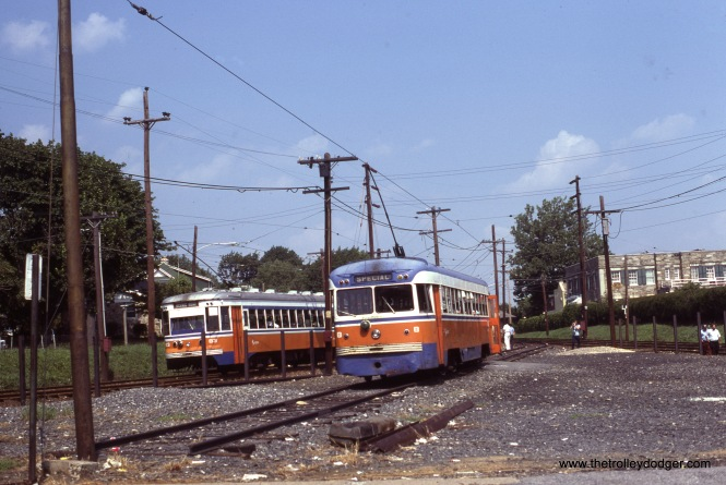 "SEPTA ""Master Unit"" 83 (left) and Brilliner 8 meet at Drexel Hill Junction on August 16, 1981. Kenneth Achtert: ""The shot of 83 and 8 at Drexel Hill Junction is on a fantrip, with 83 inbound from Media and 8 on the pocket track."""