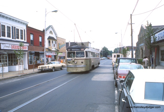 SEPTA Brilliner 4, signed as an instruction vehicle, in downtown Media in May 1976. These cars continued in service into the early 1980s, when they were replaced by the current fleet of double-ended Kawasaki LRVs.