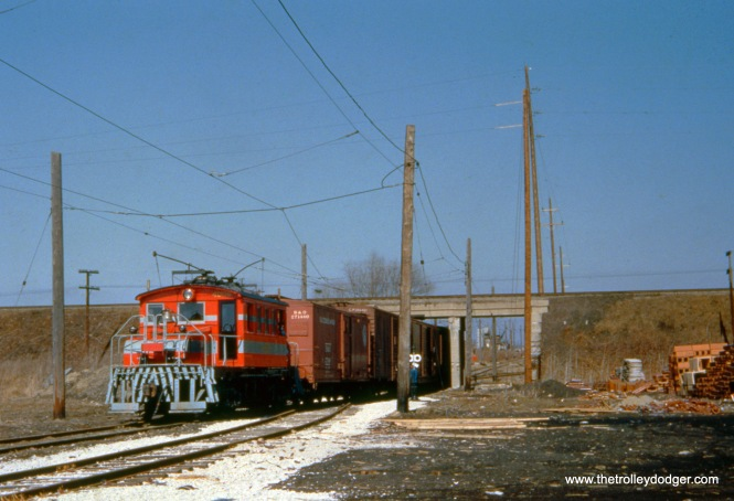 A CA&E freight train on the Mt. Carmel branch. I can't quite make out the loco's number (400x).