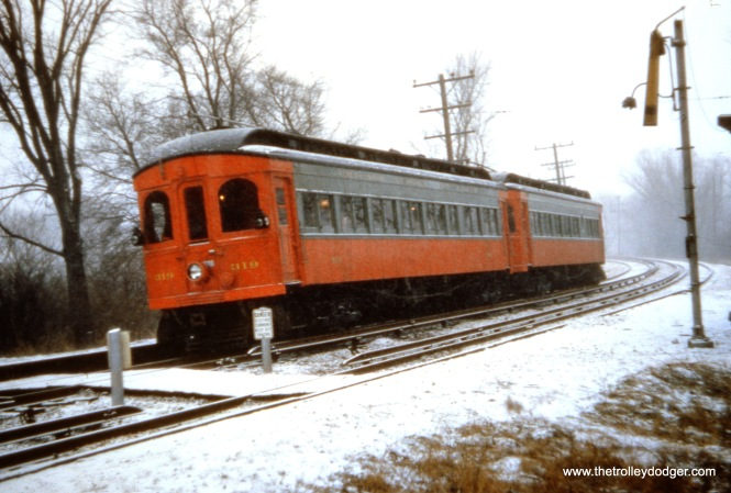 This picture may show CA&E 319 and 320 on a December 7, 1958 fantrip. This was the last passenger operation on the railroad. Freight service continued for a few more months before it too was abandoned.