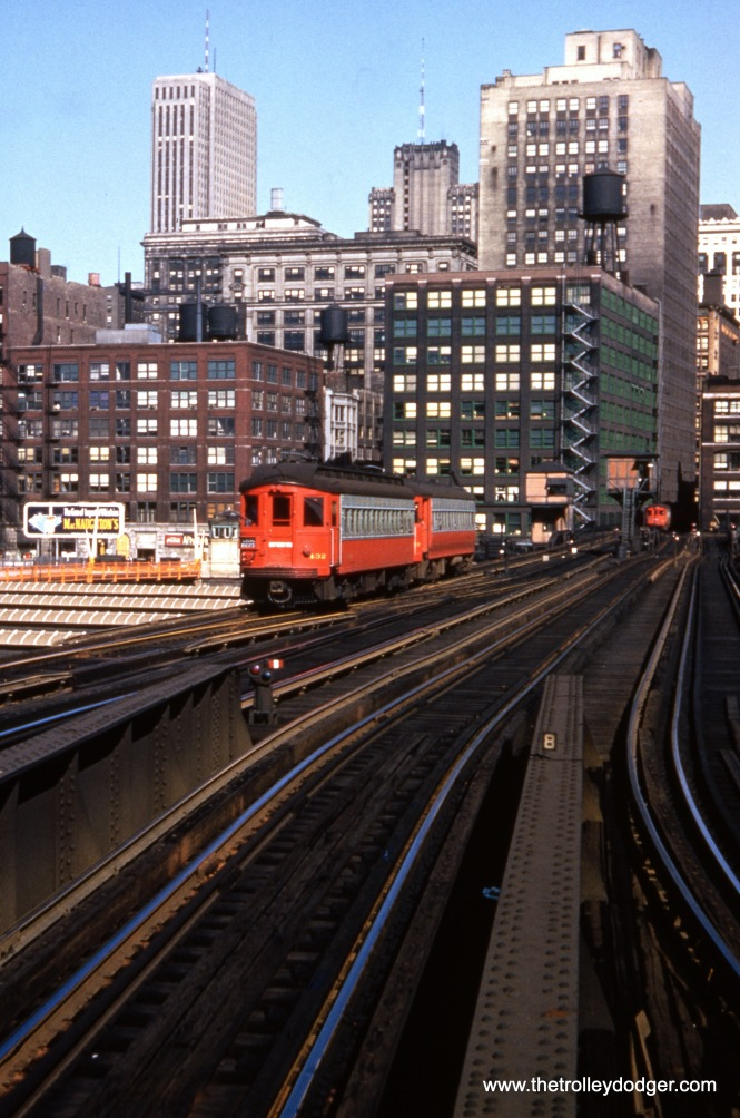 "CA&E 432 and 459 on the Met ""L"" just west of the Loop, prior to the September 20, 1953 cutback in service to Forest Park."