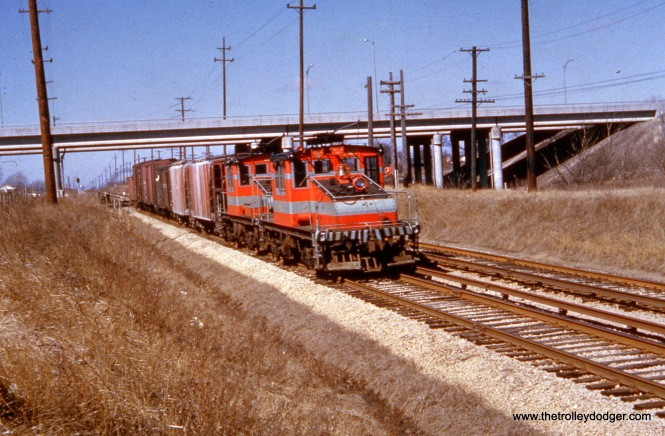 "A CA&E freight train. Tom writes: ""The Unknown CAE with the two freight motors is an Eastbound Freight at Berkeley under the I 294 / Eisenhower Expressway . I grew up a block away from there in Elmhurst."""