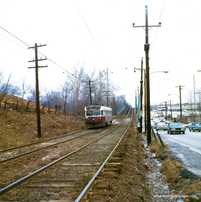 "SEPTA Brilliner 5 in February 1971. Kenneth Achtert: ""Brilliner #5 in the medium format transparency is just past the Naylor's Run trestle approaching the Congress Ave. stop."""