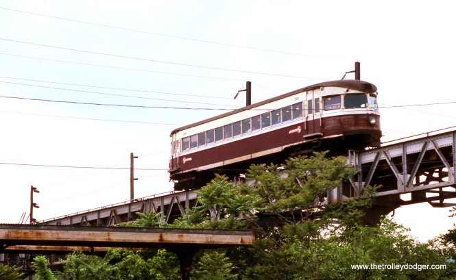 A SEPTA Bullet car crosses the Schuylkill River in May 1976.