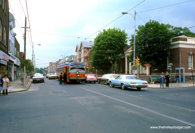 Red Arrow car 13 in downtown Media in May 1976.