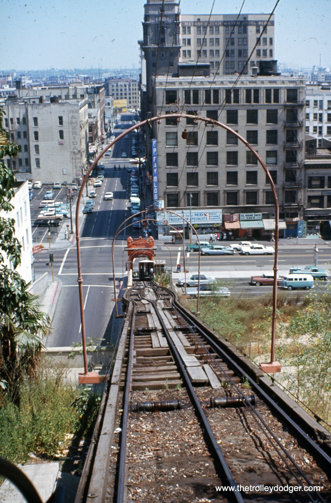The view looking down the Angel's Flight Railway in August 1966. Nearby buildings had already been torn down as part of the redevelopment of this area, which included leveling part of Bunker Hill.