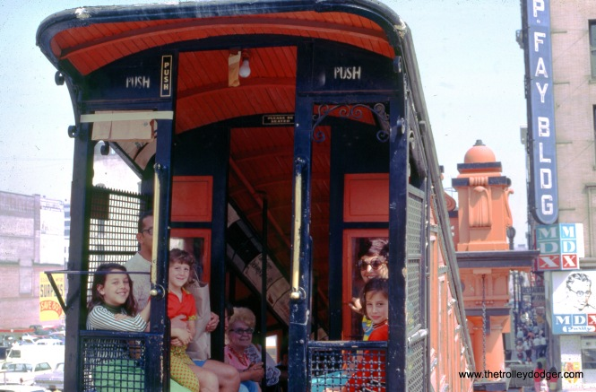 A family rides the Angel's Flight funicular in Los Angeles' Bunker Hill neighborhood in May 1969. Service ended later that year, and Angel's Flight was dismantled and put into storage for many years before being reopened a short distance from here.