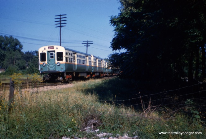 This picture, taken in September 1958, appears to show the back end of a CTA Congress branch train heading east over temporary trackage just east of DesPlaines Avenue, where there was a crossing at grade. Construction work was underway for I290, and the previous June, the new rapid transit line in the Congress expressway median had opened as far west as Cicero Avenue.