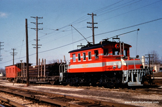 A short CA&E freight train, complete with caboose. Some other interurbans did not use cabooses.