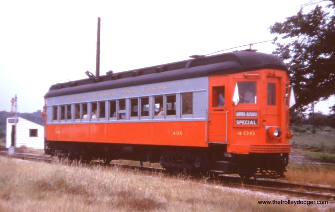 CA&E 406 on a 1950s fantrip, most likely on the Batavia branch.
