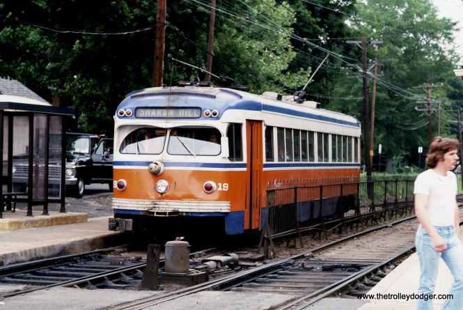 "SEPTA 19 on the Sharon Hill line in May 1976. Kenneth Achtert adds, ""SEPTA 19 on the Sharon Hill line is outbound at Drexel Hill Junction."""