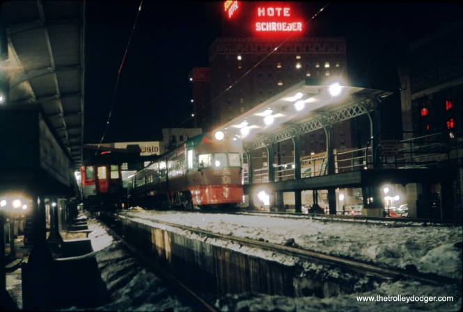 This remarkable picture was taken at the North Shore Line's Milwaukee terminal in January 1963. for all we know, this may be the last night of operation. If so, the temperature was below zero.