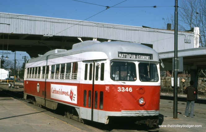 MBTA double-end PC 3346 at Mattapan on March 31, 1978. These cars were painted red, since the Ashmont-Mattapan branch line is considered an extension of the Red Line subway.