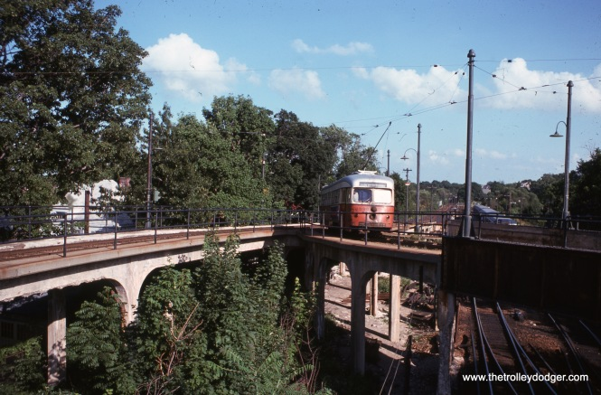 Outbound double-end PCC 3345 at Ashmont in August 1968.