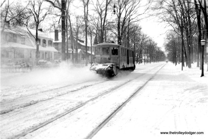 #1 Sweeper on Greenleaf Avenue in Wilmette, Ill., Shore Line Route. Jan/31/1940.
