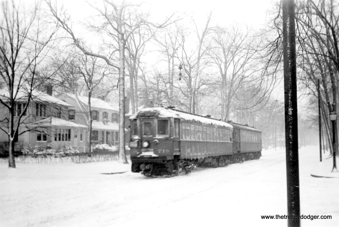 #3 Shore Line train, Greenleaf Avenue, Wilmette, Ill. Taken about 1944. Southbound.