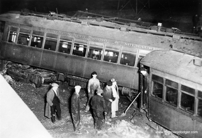 #6 Worst North Shore wreck, at Burlington Road, Kenosha, Wis. Sunday night, Feb. 23, 1930. 11 killed, 100 injured and one car so smashed it was never returned to service (No. 745).
