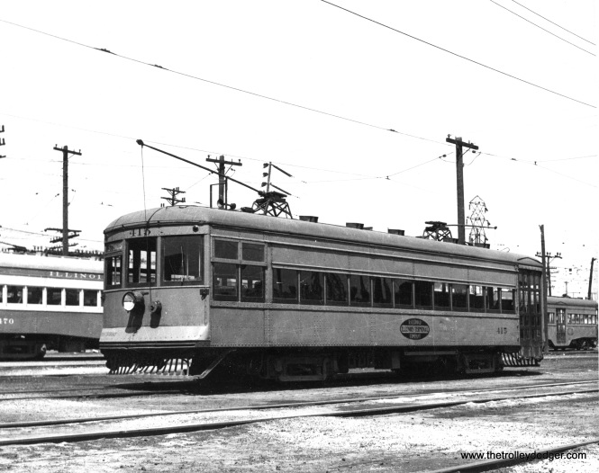 "Don's Rail Photos says: ""415 was built by St Louis Car Co in 1924, #1324, as CO&P (Chicago, Ottawa & Peoria) 64. It became C&IV (Chicago & Illinois Valley) 64 in 1929. It was rebuilt as IT (Illinois Terminal) 415 on September 16, 1934. and sold to Illinois Electric Railway Museum on October 19, 1956."""