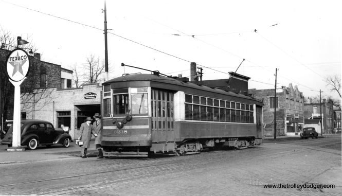 "CSL 6238 on the 67-69-71 line. This was known as a Multiple-Unit car. Don's Rail Photos adds, ""6238 was built by Lightweight Noiseless Streetcar Co in 1924. It was rebuilt (for) one man service in 1932."""