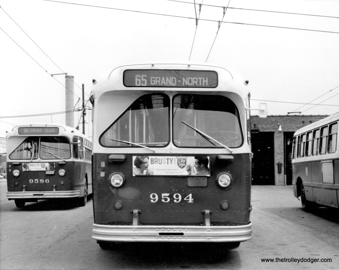 CTA Marmon trolley buses 9586 and 9594 at the North Avenue garage.
