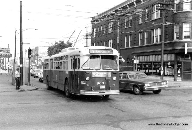 CTA trolley bus 9631 is westbound on Belmont at Cicero circa 1970.