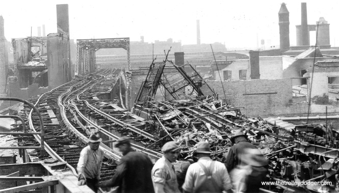 "This picture, taken on May 21, 1934, shows how the CRT Stock Yards ""L"" branch was extensively damaged by fire two days earlier. Service west of Halsted did not resume until January 16, 1935."