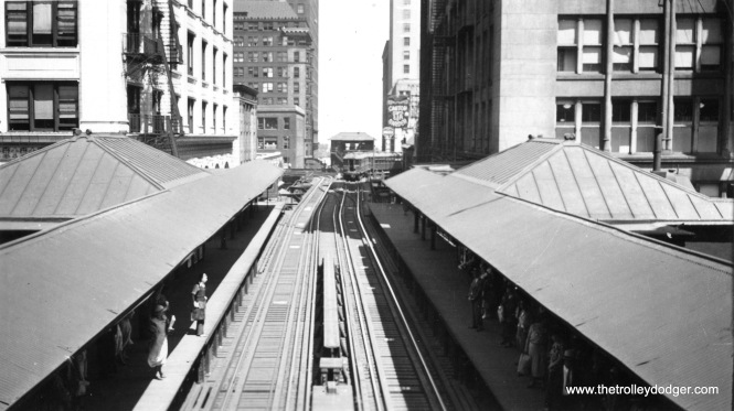 "This is the old State and Van Buren station on the Loop ""L"", looking east towards Tower 12. This station was closed in 1972 and demolished. It has since been replaced, due to its proximity to the Harold Washington Library."