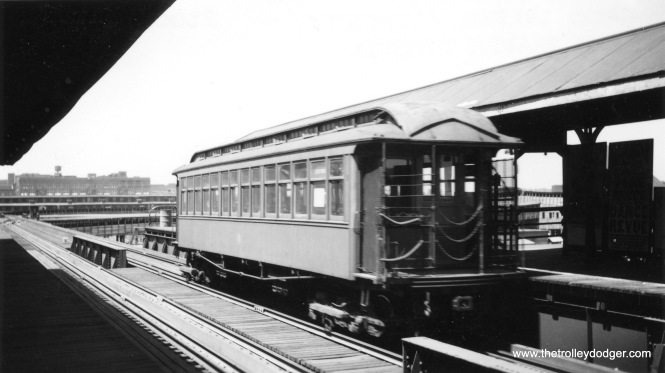 "A CRT gate car on the Stock Yards branch of the ""L""."