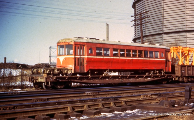 "Lehigh Valley Transit 1102 loaded on an Lehigh Valley RR flat car in Allentown, PA (November 1949). Don's Rail Photos: ""1102 was built by Cincinnati Car in August 1929, #3025, as D&TRy 203. It was returned to Cincinnati Car in 1932, and in 1938 it was sold to LVT as 1102. In 1949 it was sold to Speedrail, but was not rehabilitated until March 1951. But it only ran for 3 months as 66 before the line was abandoned and then scrapped in 1952."""