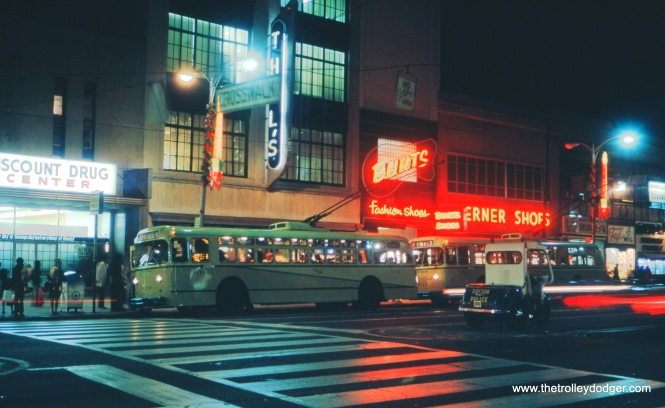 A Dayton (Ohio) trolley bus at night in September 1972.